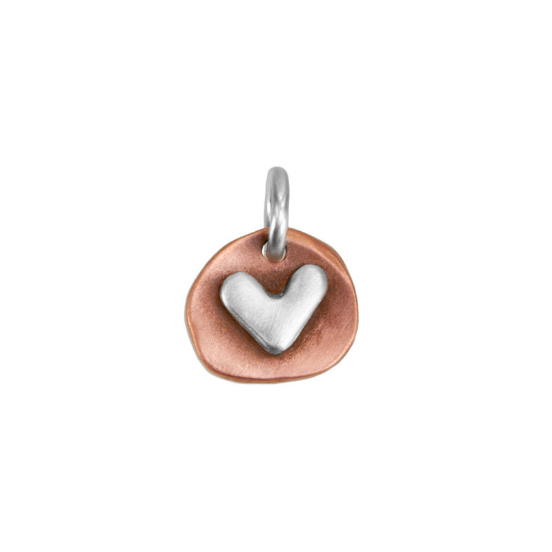 handmade copper and silver heart charm