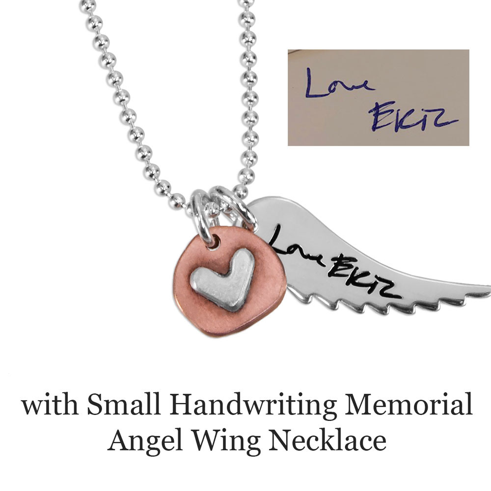 Handmade copper and silver heart charm, shown with Memorial Silver Handwriting Angel Wing Necklace
