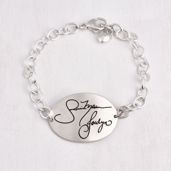 Large oval handwriting memorial silver bracelet with heart charm