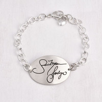 Large oval handwriting memorial bracelet with heart charm