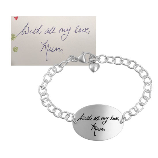 Silver oval handwriting bracelet, shown with the original handwriting, shown in full on white