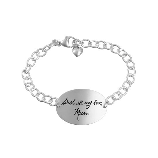 Large oval silver handwriting memorial bracelet with heart charm