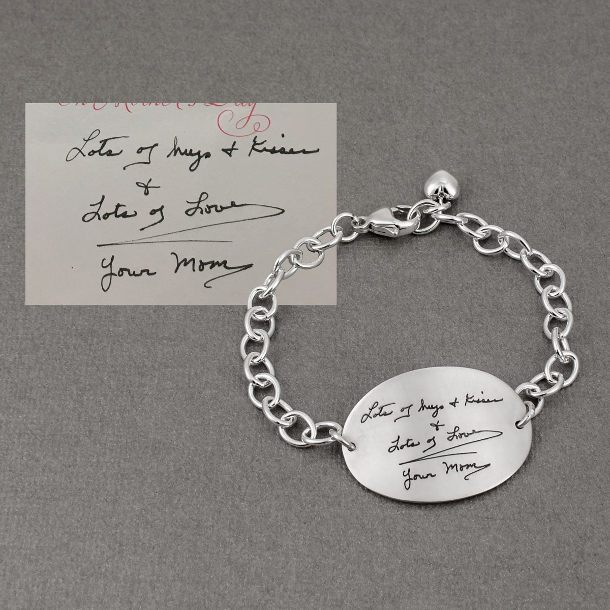 Large oval handwriting bracelet showing actual handwriting used to make the bracelet