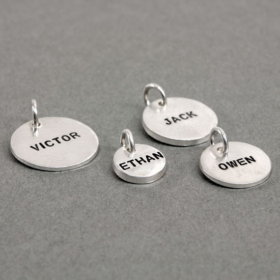 Four sizes of Thai personalized handstamped name charms