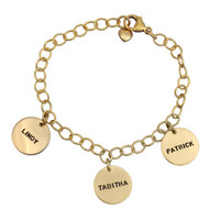 hand stamped gold bracelet for mom with kids' name