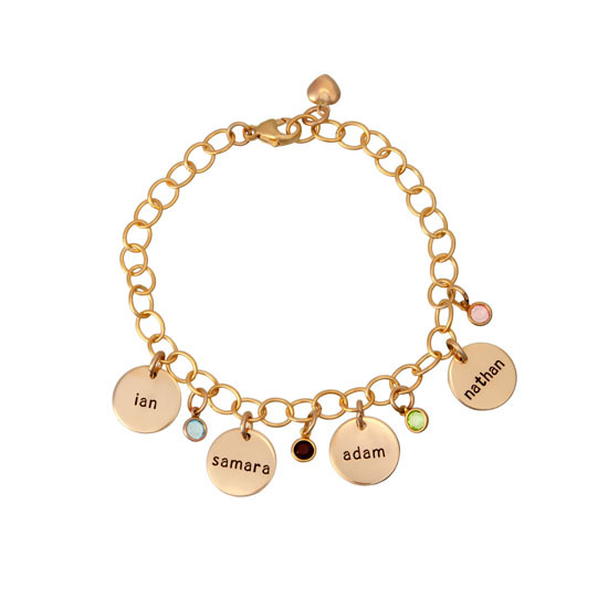 hand stamped gold bracelet for mom with kids' names and birthstones