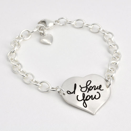 Your handwriting on a heart bracelet