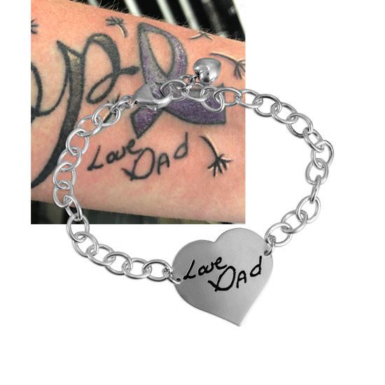 Tattoo image on custom heart bracelet