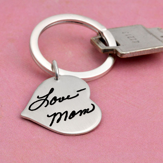 Handwriting on sterling silver key chain