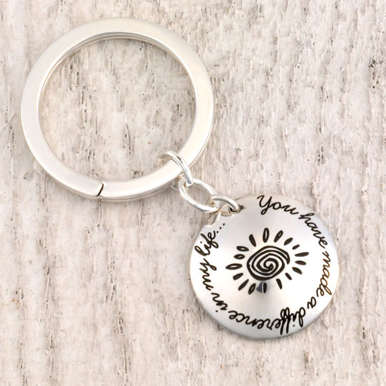 Sterling silver teacher gift - You Have Made a Difference Key Chain