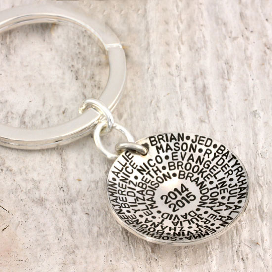 Sterling silver Teacher Key Chain Gift showing students' names and school year on back of key chain