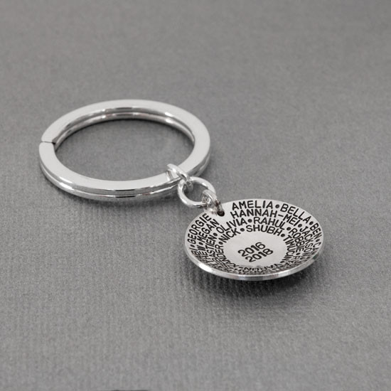 Sterling silver teacher gift for men or women- You Have Made a Difference Key Chain, shown from the side with students' names, and years they had the teacher