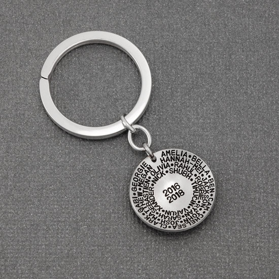 Sterling silver teacher gift for men or women- You Have Made a Difference Key Chain, shown from the side with students' names, and years they had the teacher. shown from the top