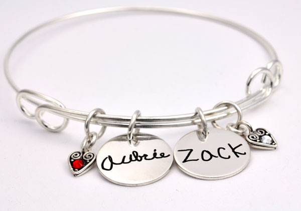 Handwriting charm silver bracelet with kids names