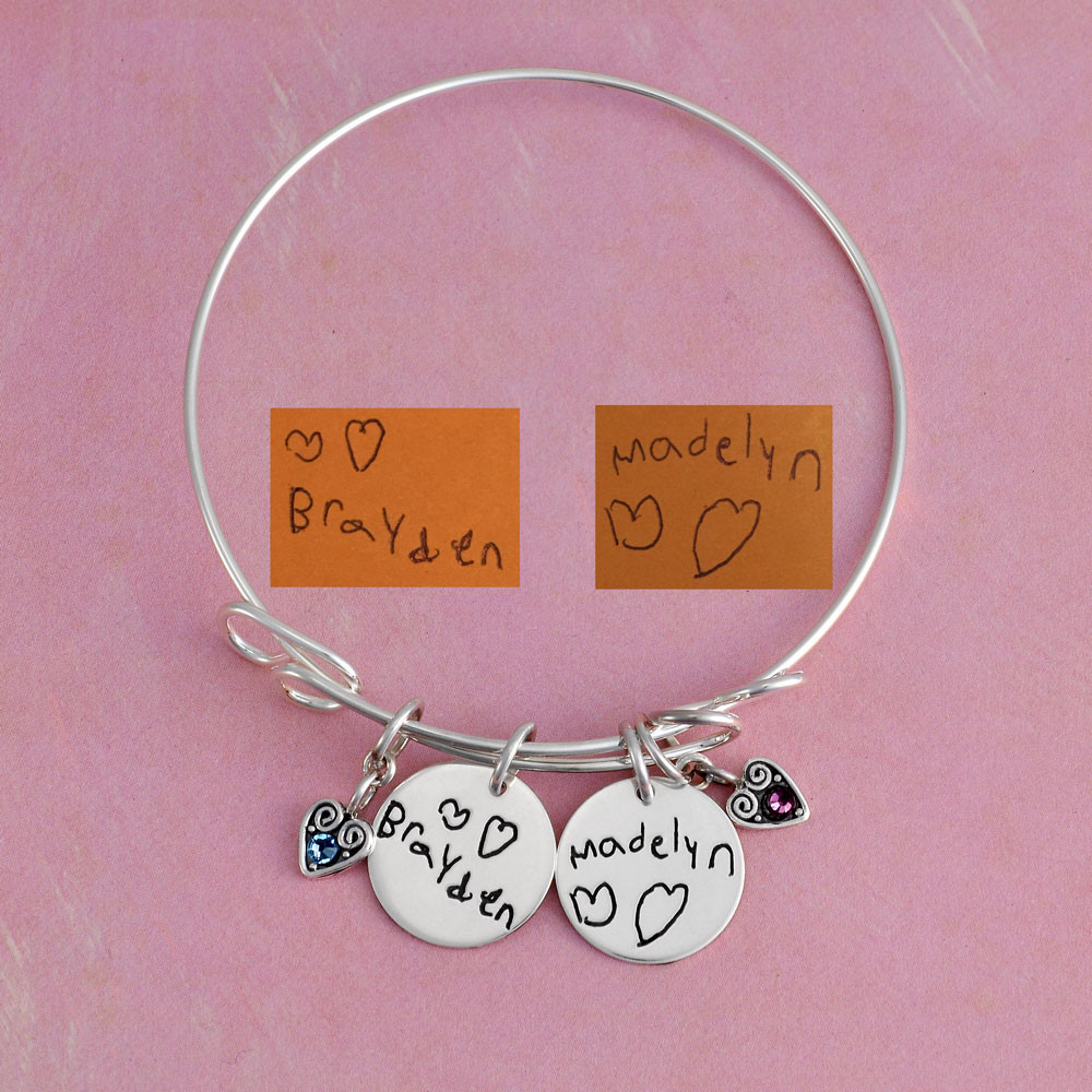 Handwriting signature silver bracelet with kids names, shown with original handwritten signatures