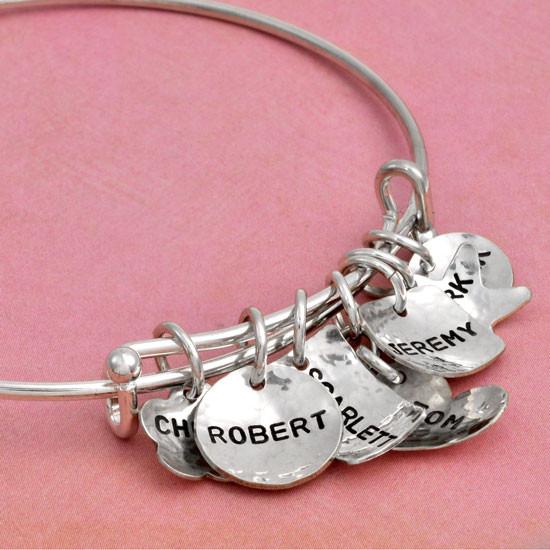 Hand stamped name bracelet