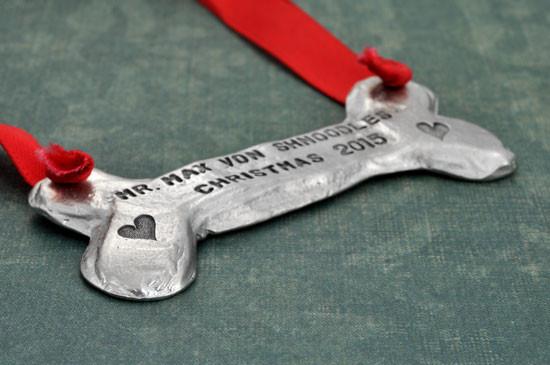 Hand stamped pewter dog bone