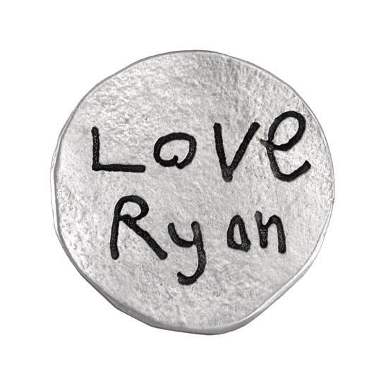 Fine Pewter pocket charm, showing a hand written message on the back in your child's actual handwriting