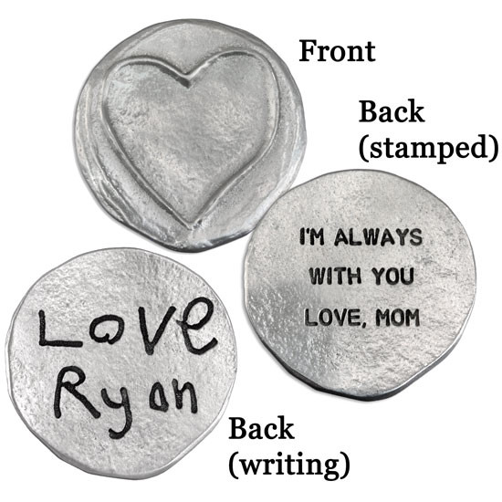 Fine Pewter pocket charm with a raised heart, and a hand stamped message or your actual handwriting on the back