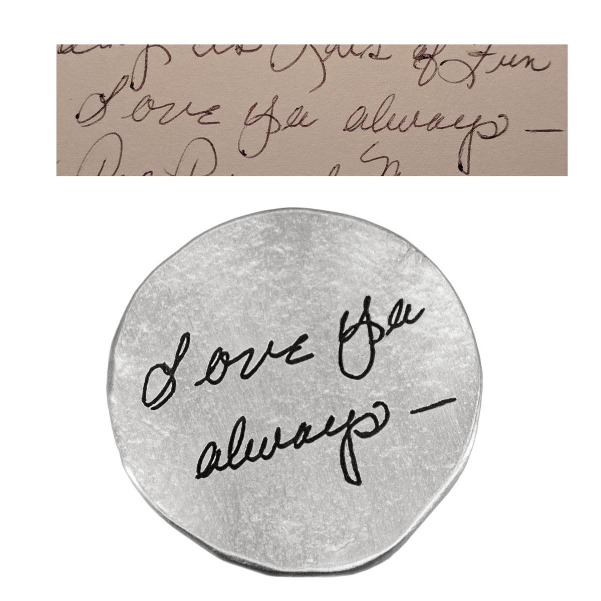 Handwritten note on fine pewter pocket token charm, showing actual handwriting