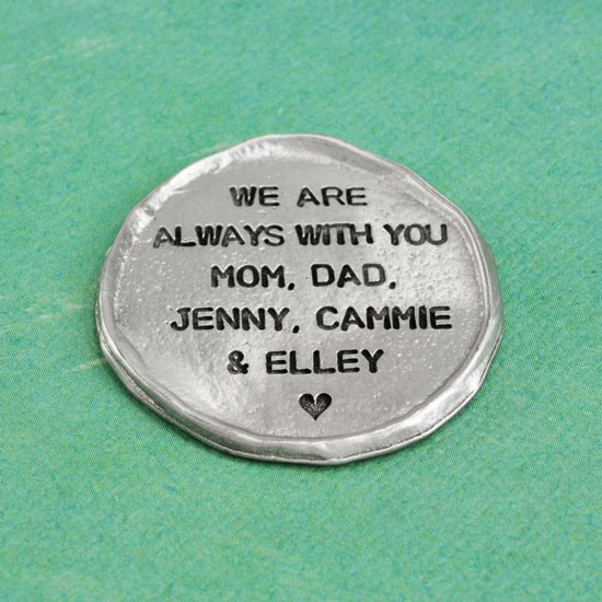 Hand stamped pocket charm in fine pewter