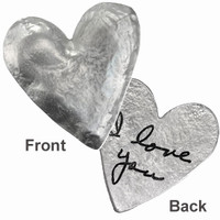 Heart pocket charm with handwriting in fine pewter, on white