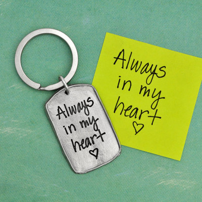 Military tag handwritten fine pewter key chain, shown with the original love note used to make it