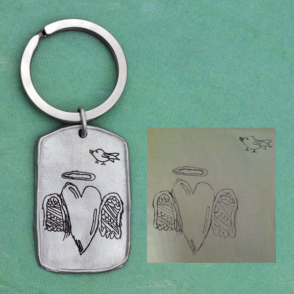 Military tag handwritten key chain, shown with the original handwriting & artwork used to make it