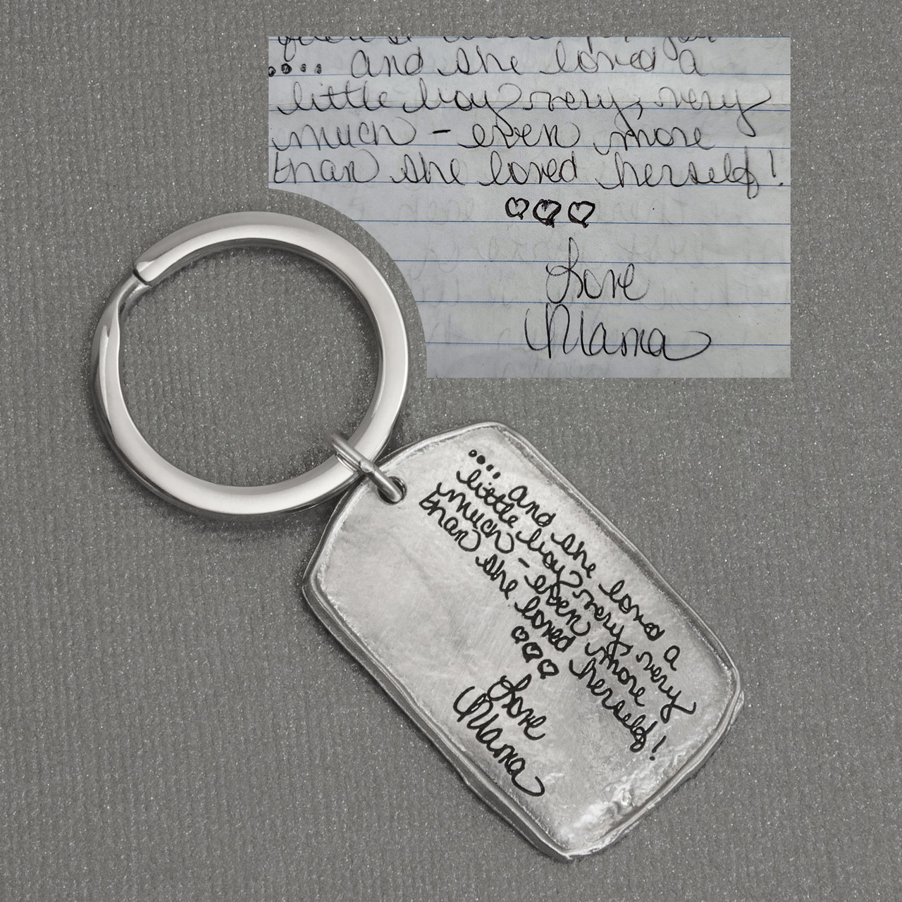 Military tag handwritten key chain, shown with the original handwriting used to make it