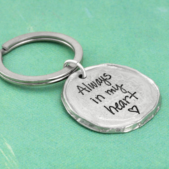 Signature note on a fine pewter key ring