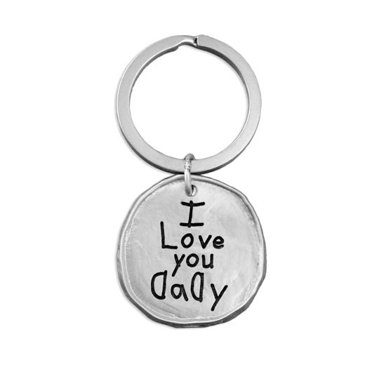 Handwriting on Round Pewter Key Ring