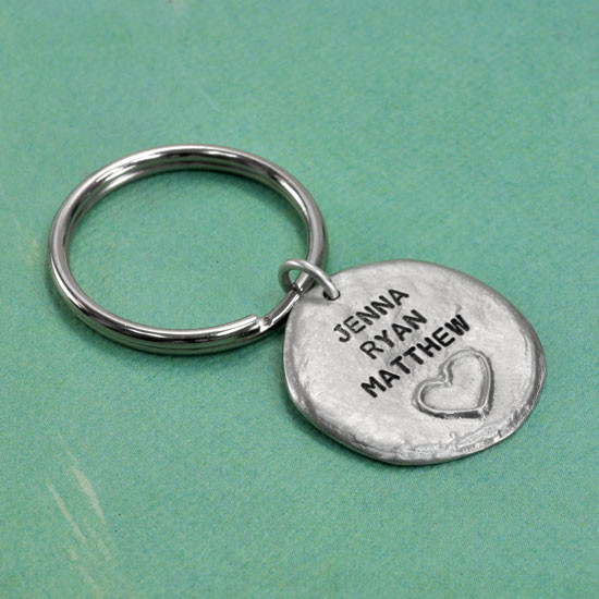 Raised heart keychain