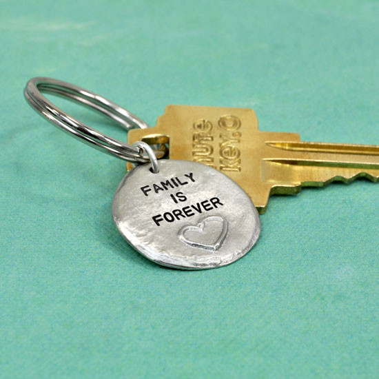 Hand stamped heart key chain, seen from the side