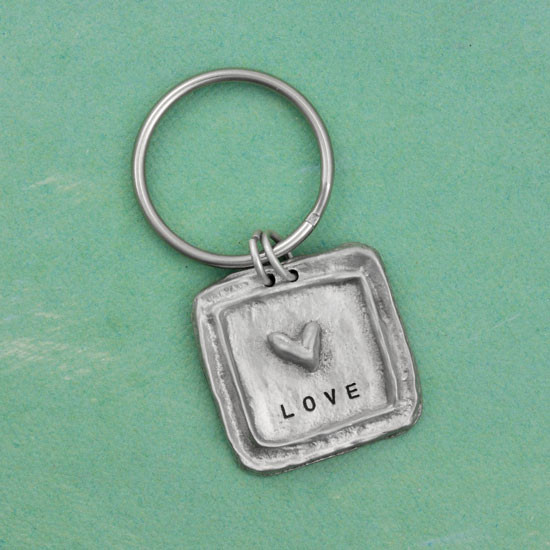 Hand stamped key ring pewter