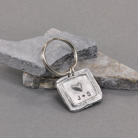 Hand stamped personalized keyring pewter