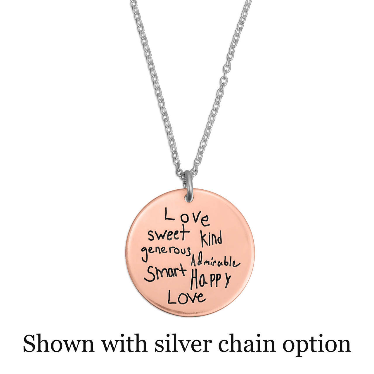 Rose gold disc handwriting necklace, shown with optional silver chain