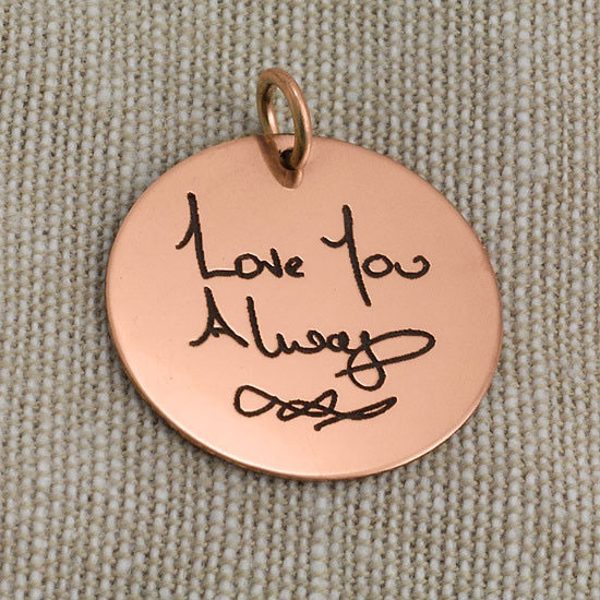 Rose gold disc memorial handwriting necklace, shown close up