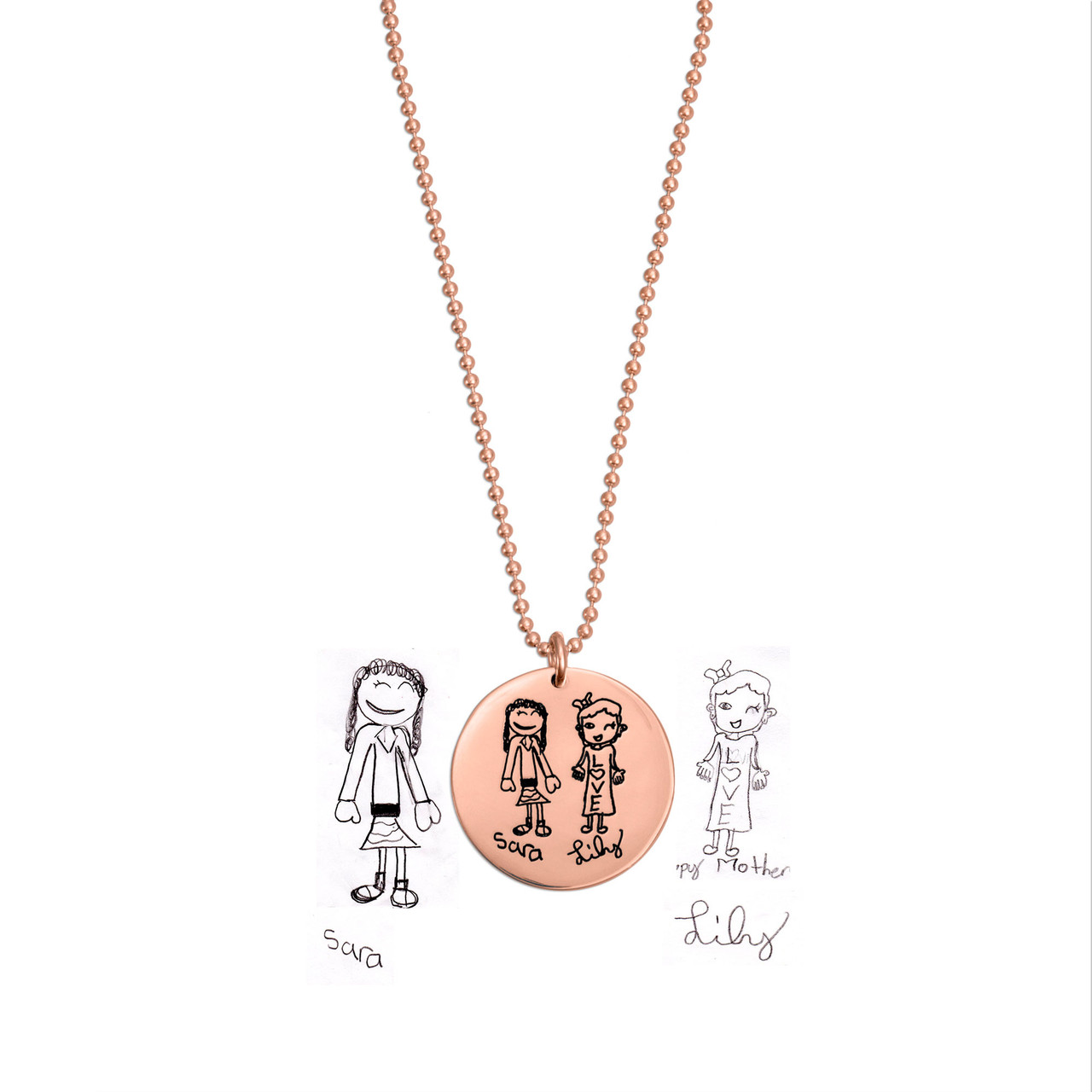 Rose gold disc handwriting necklace, shown with original handwritten artwork used to create it