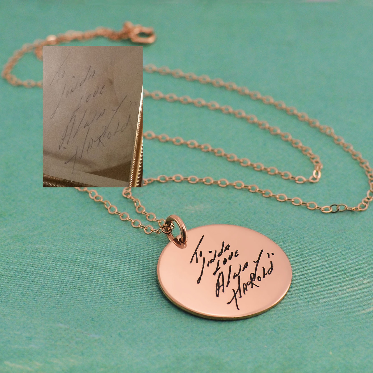 Rose gold disc handwriting necklace, shown with original handwritten note used to create it