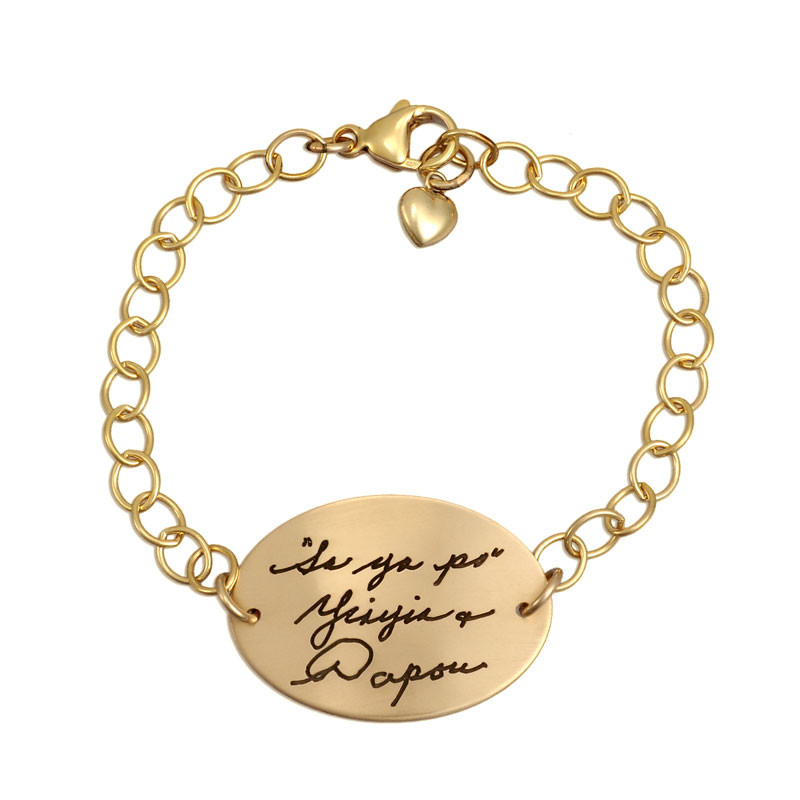 Gold memorial bracelet with your loved ones' actual handwriting