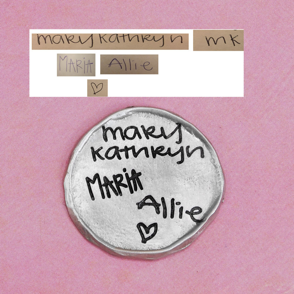 My Mantra Handwriting Pocket Token in fine pewter, shown with handwriting used to create it