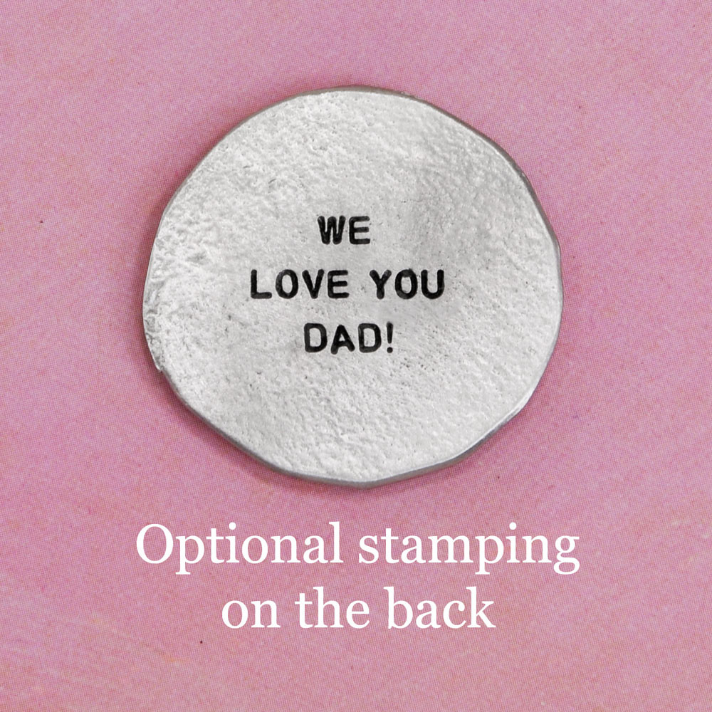 My Mantra Handwriting Pocket Token in fine pewter, shown with optional handstamped message on the back