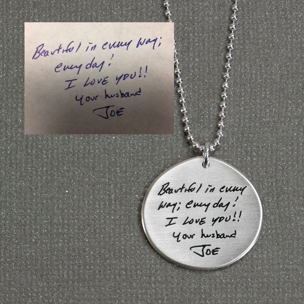 Memorial handwriting jewelry necklace in silver