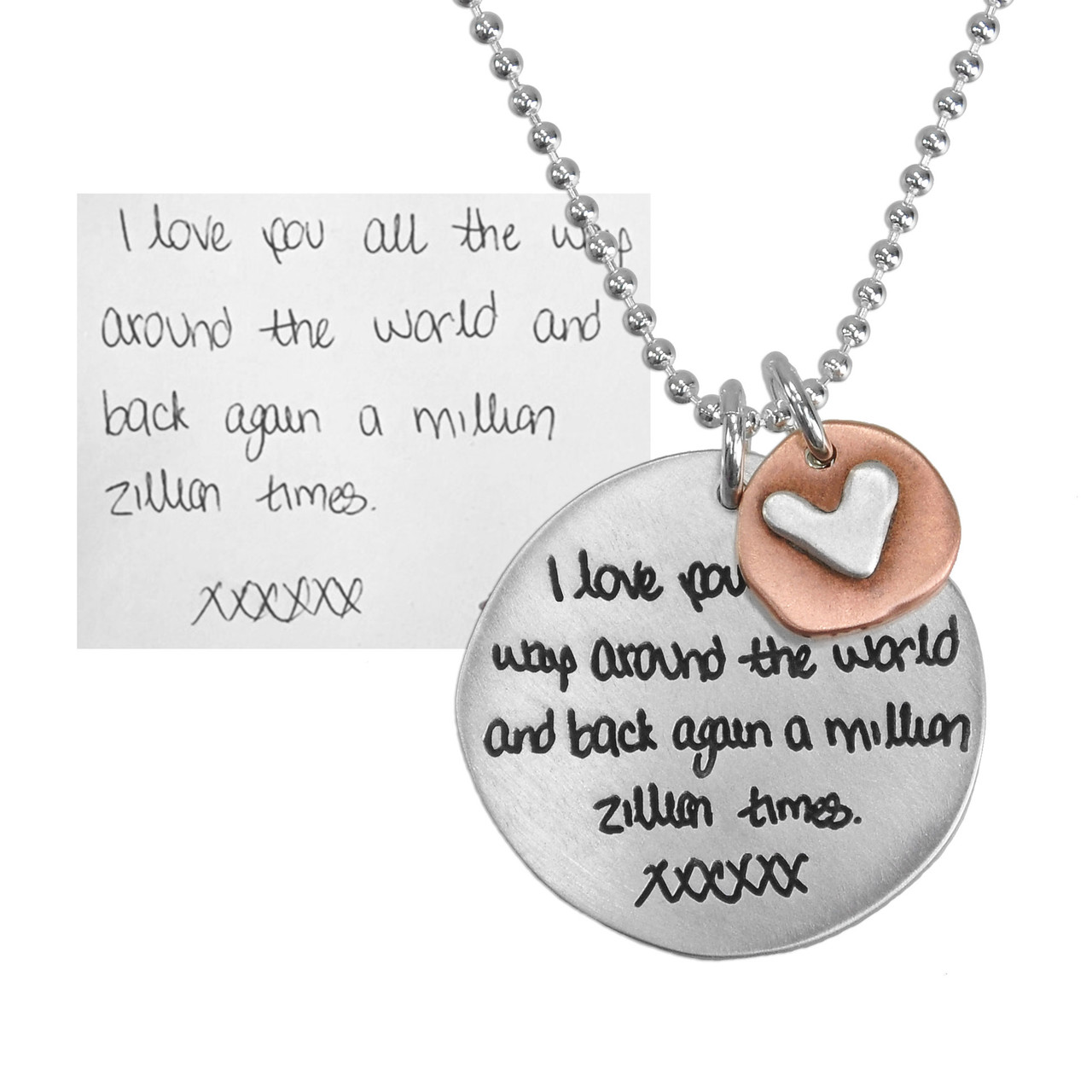 Memorial handwriting jewelry necklace in silver, shown with original writing