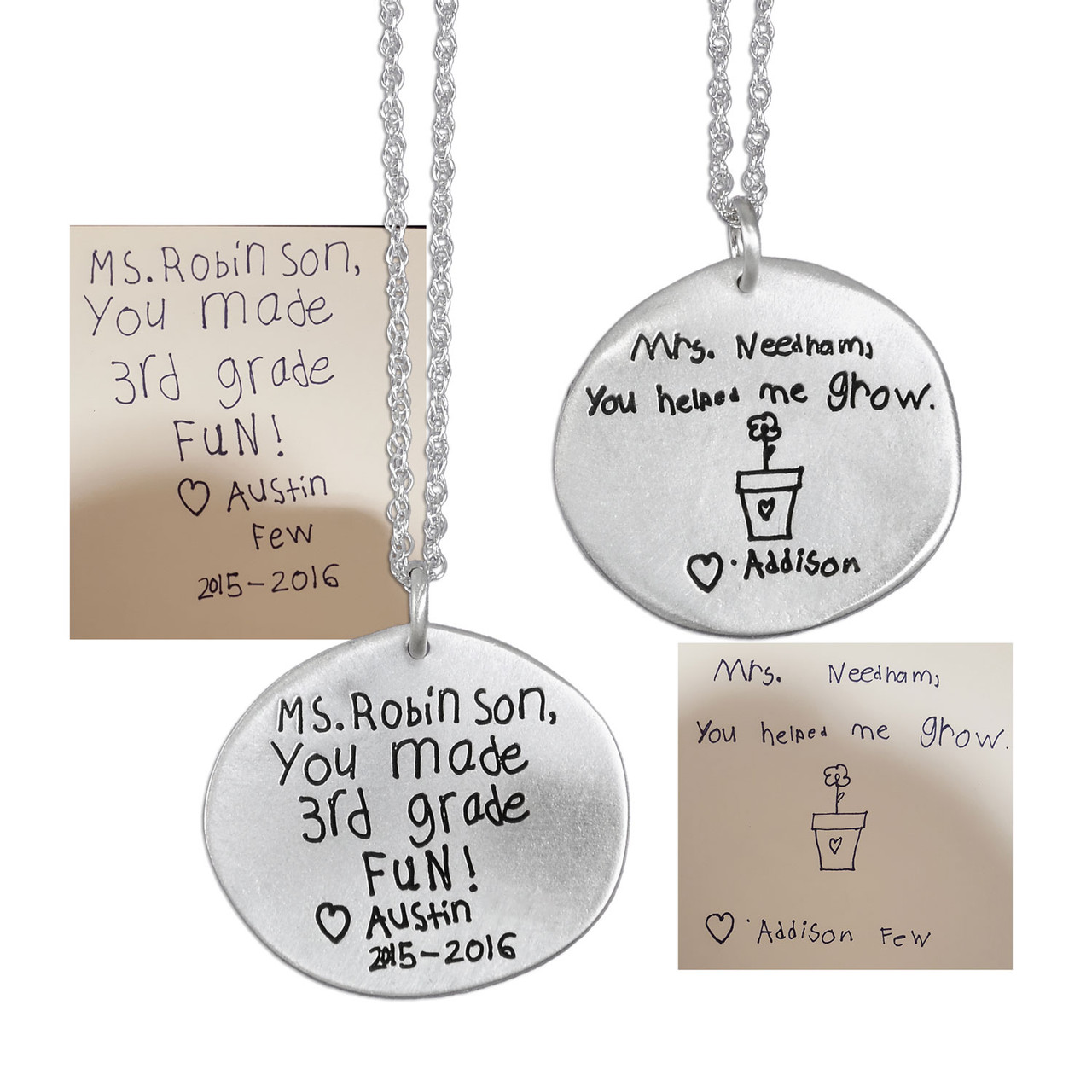 Kid's handwriting on necklace for a loved teacher, shown with original handwriting