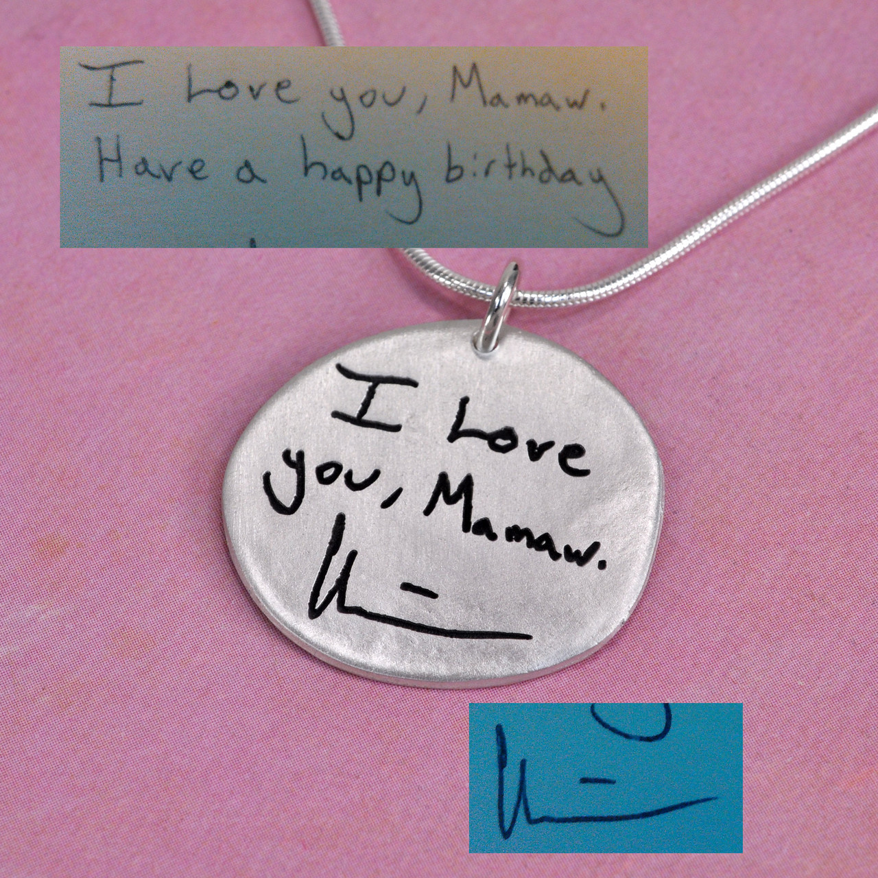 Memorial gift note on necklace