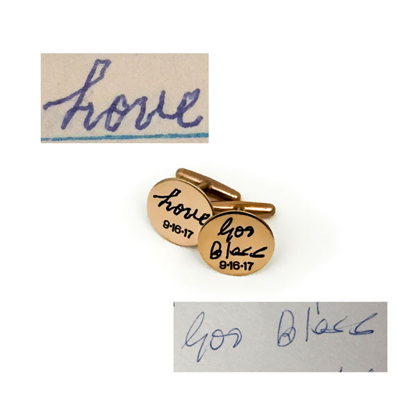 Bronze custom cuff links with handwriting used to create them