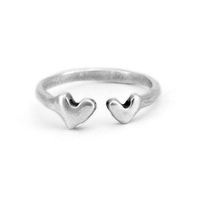 Silver ring with two hearts