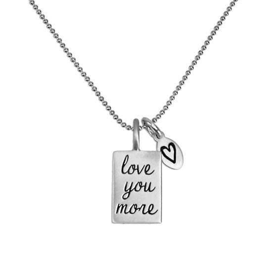 Love you more necklace on fine ball chain
