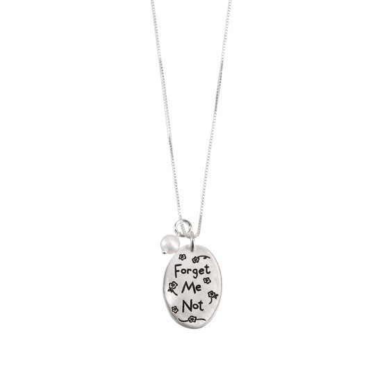 Forget me not hand stamped necklace